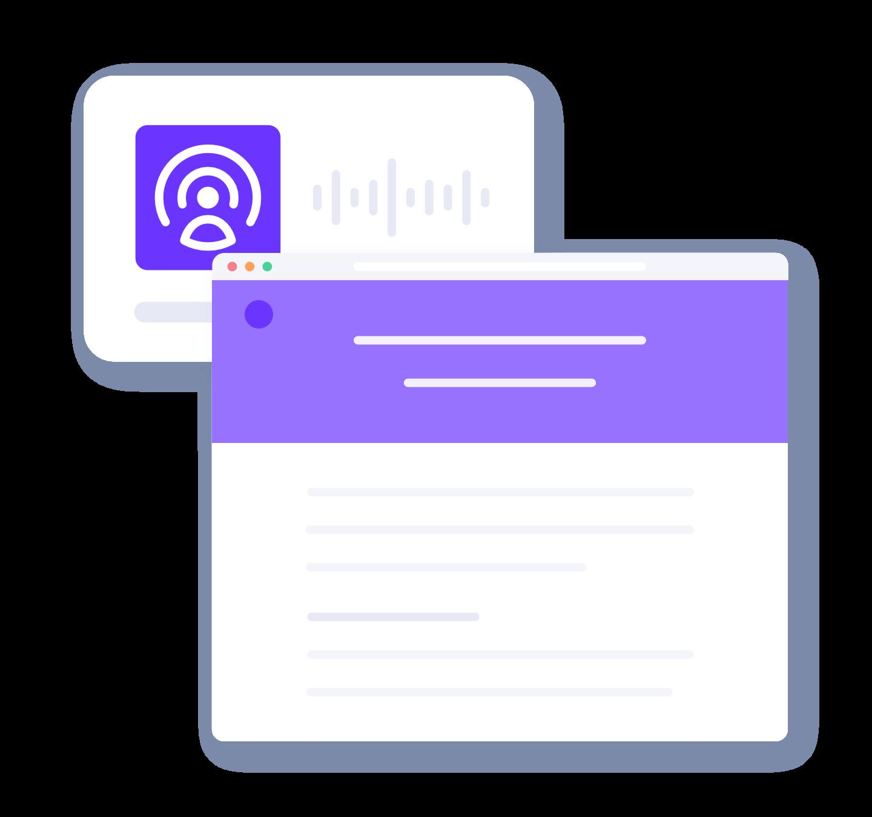 A purple audio wave form illustration behind a purple web page illustration