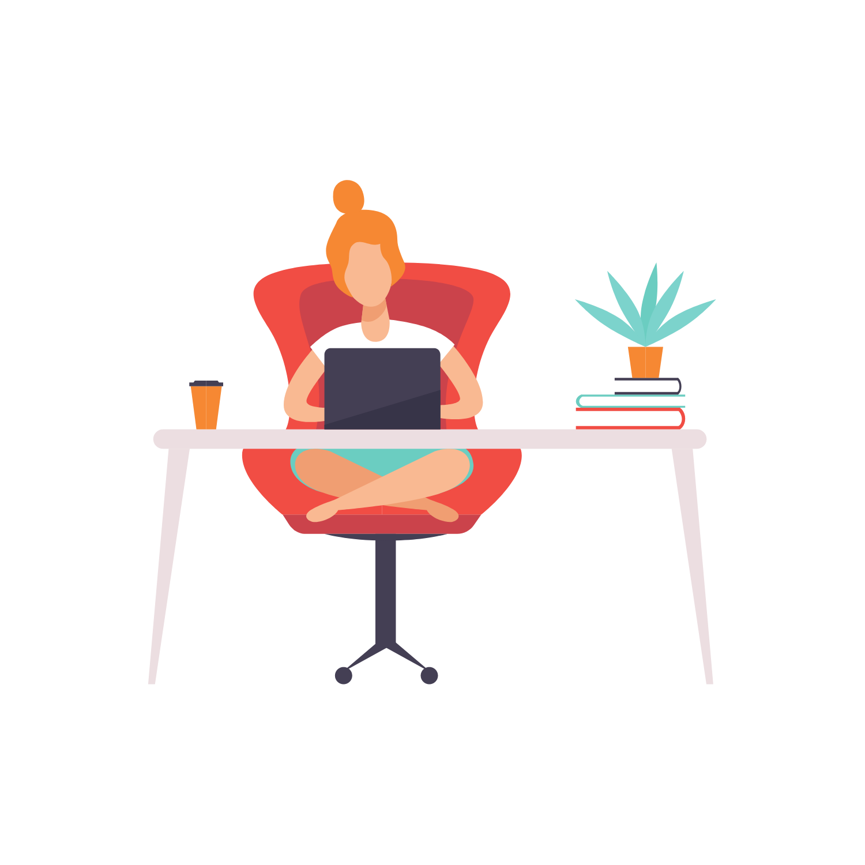 Woman at desk working on laptop illustration