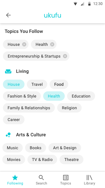 Simplified UI - Topics you follow