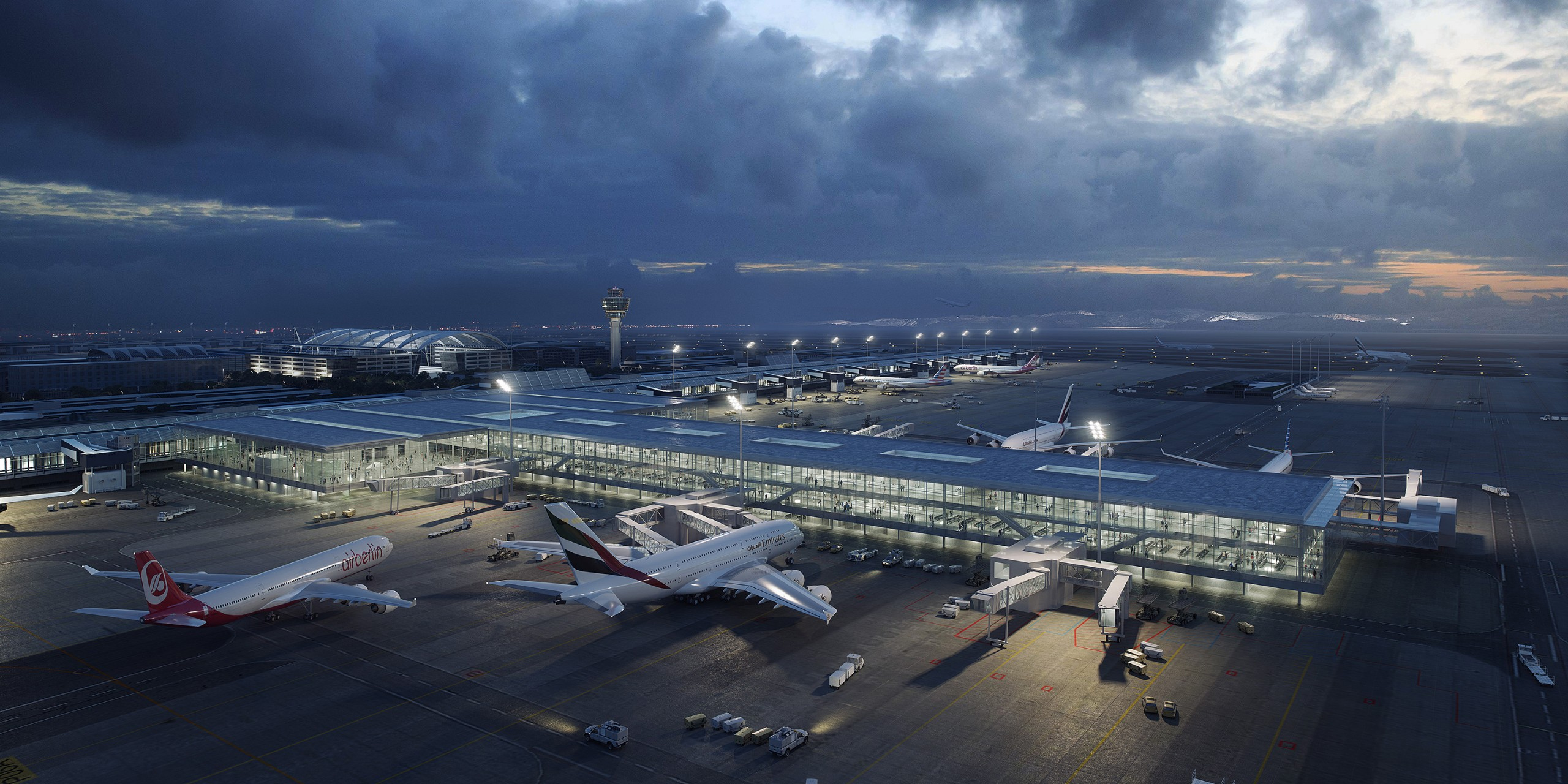 Aerial visualisation: evening  view of an airport terminal extension building in Munich, Germany