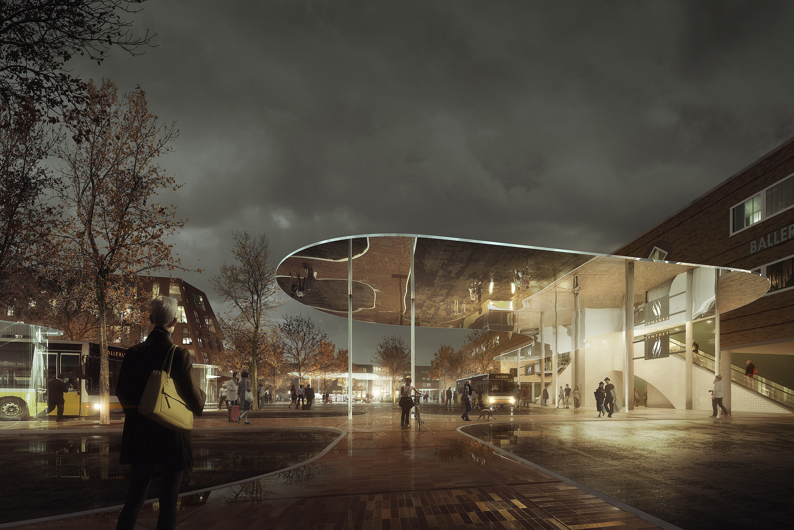 Architecture competition visualisation: Mirror roof reflecting the drop off area at the Ballerup Bus terminal