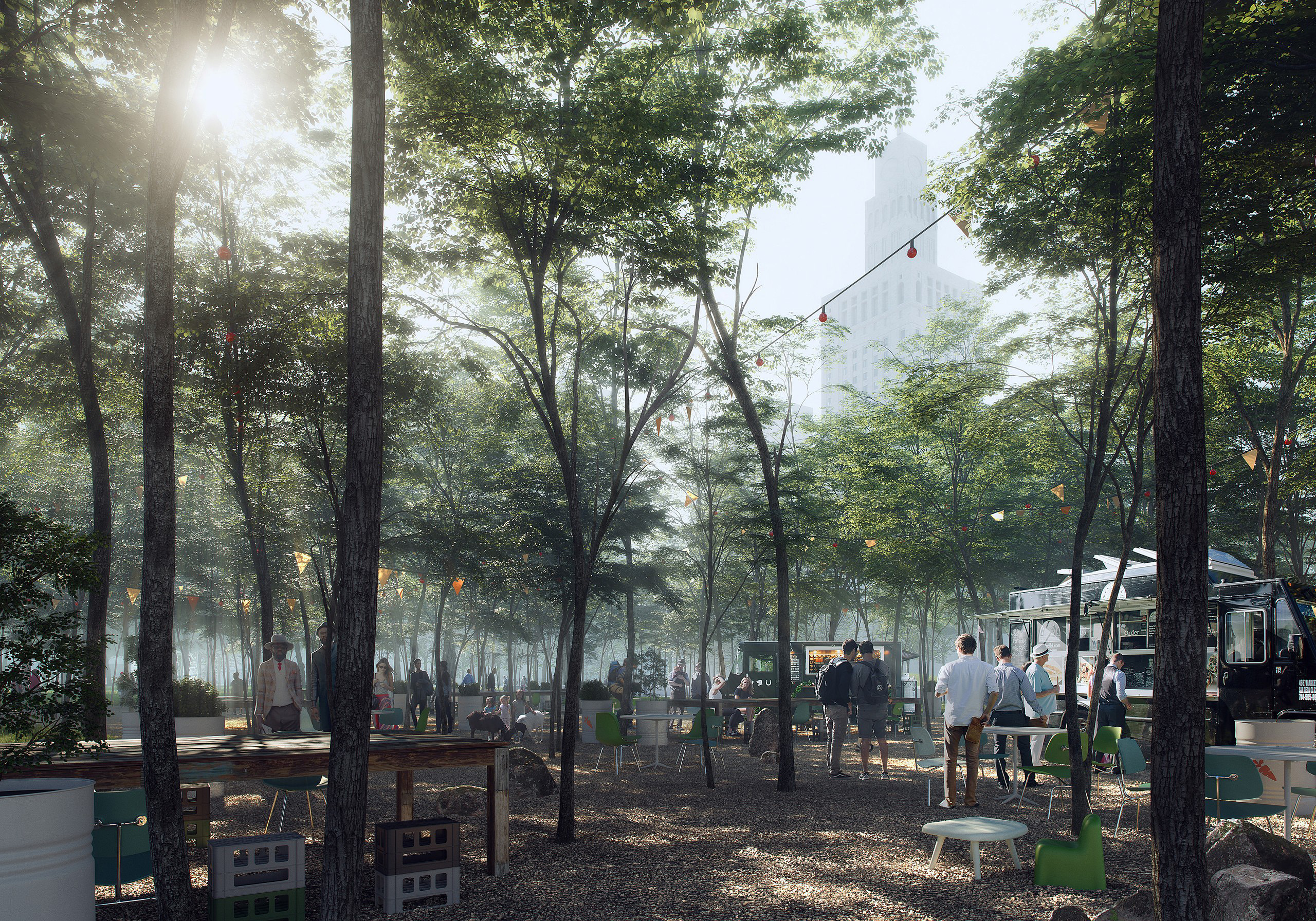 Vivid landscape visualisation: light coming through dense trees iluminating a lively food truck court