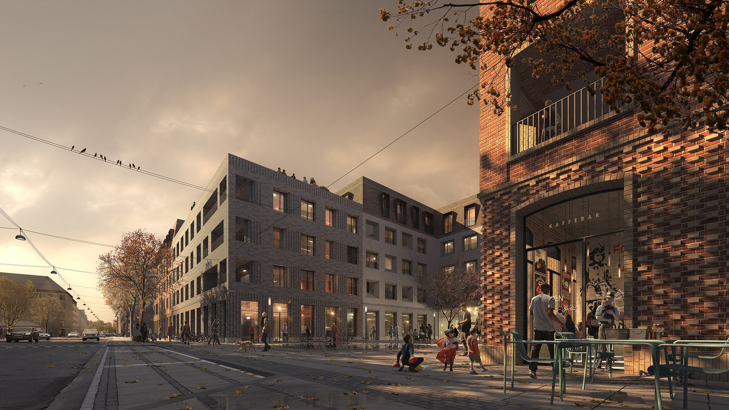 Competition entry presentation rendering: Evening shadows on various coloured brick buildings in autumn