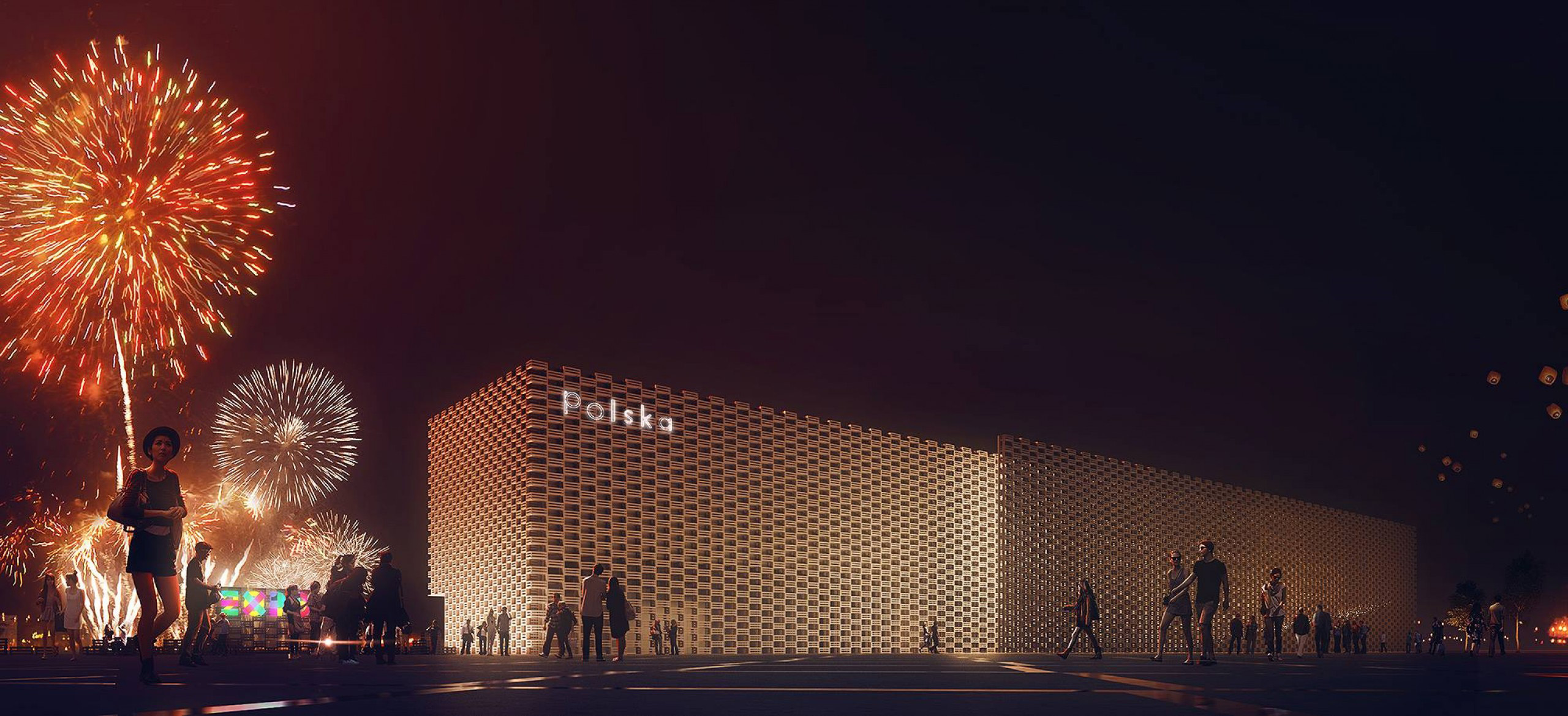 Vivid night rendering of the Polish Pavilion: wooden pattern building, red fireworks in the sky, EXPO Milano 2015
