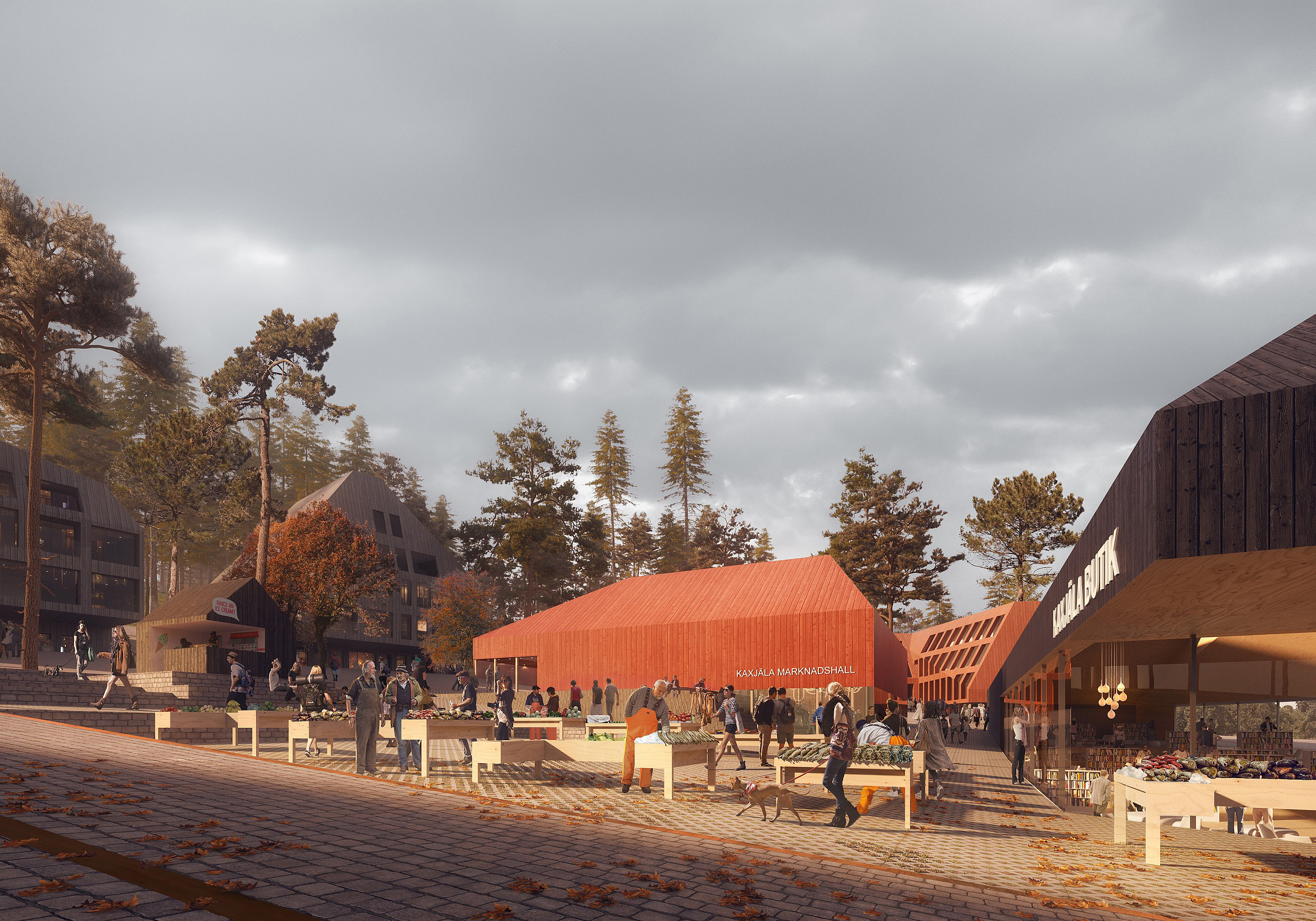 visualization for a design competition in Finland: fish market on small square in front of a red wood building, warm light and autumn atmoshere