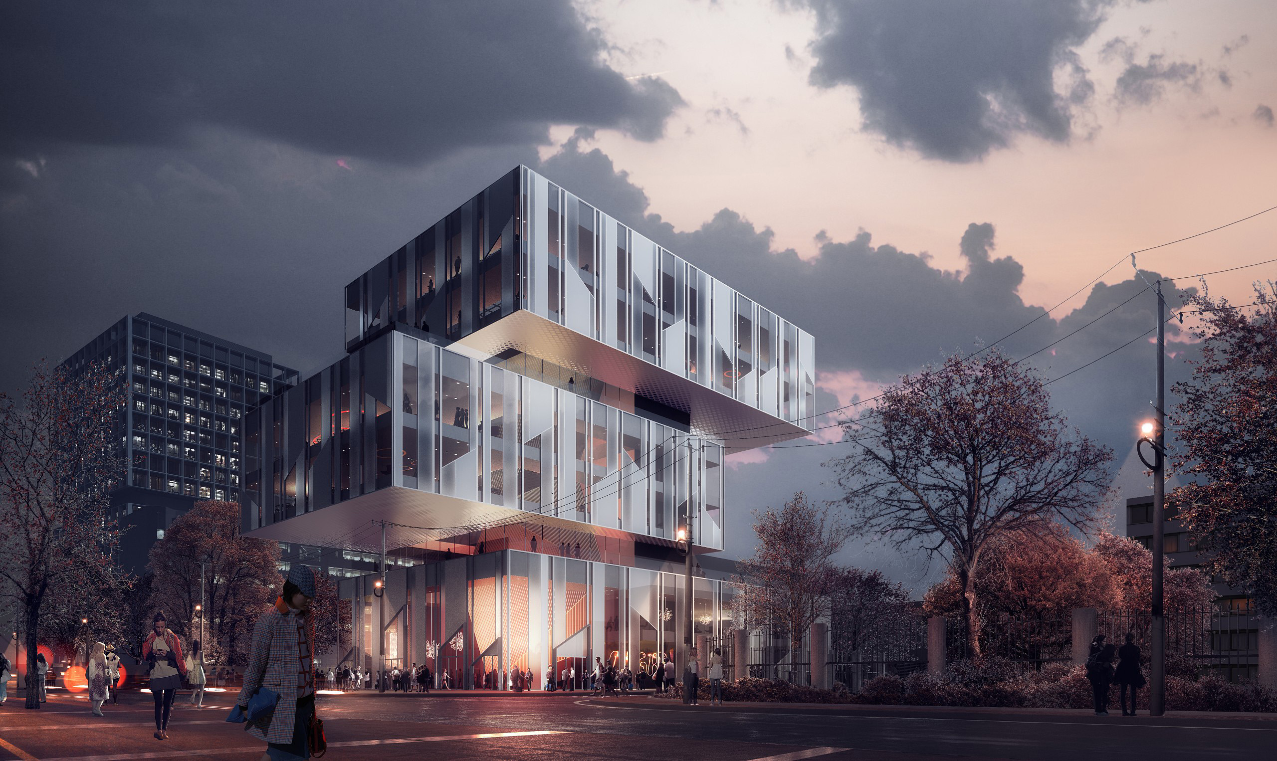Winning competition rendering: frosted glass building with colorful interior, dramatic sky