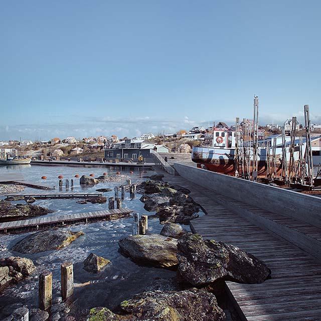 3D rendering of a water edge promenade in a port area in Lemvig, Denmark