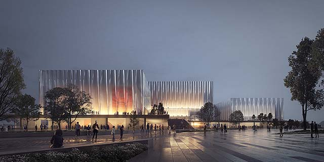 Evening architectural rendering: lit up translucent glass theatre building in China with people walking in the foreground