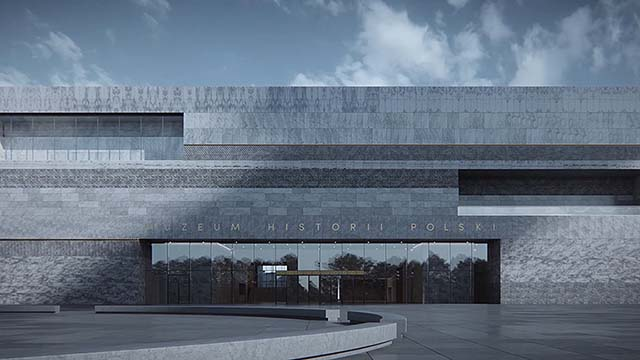 Architectural animation of Polish History Museum building in Warsaw. Stone pattern wall.
