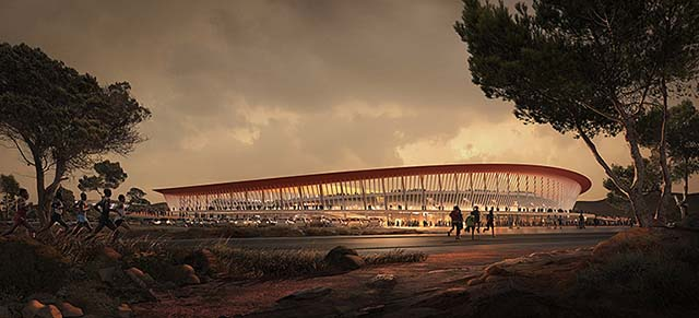 Architectural rendering: african landscape, sun setting over the Eldoret Stadium with marathon runners in the foreground