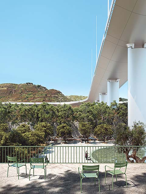 3d rendering of a park under a bridge in Genoa. Terrace view, mediterranean landscape, bright sunny day, blue sky.