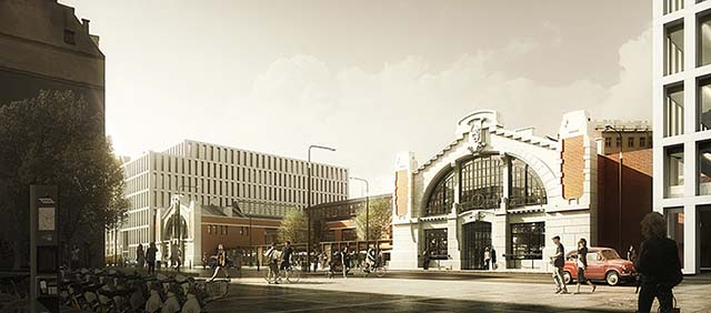 Revitalisation 3d rendering: old red brick market hall in Warsaw, sunny atmosphere