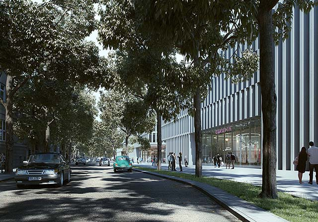 Unbuilt architecture rendering: tree shadows on a busy street, white office and cinema buildings in the background