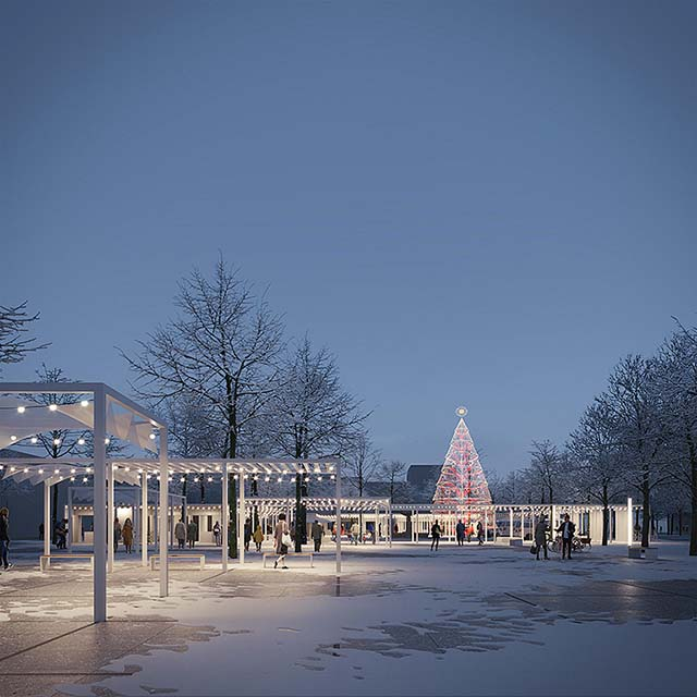 Architecture competition entry render:  Christmas market, garlands and christmas tree illuminating the city square on a winter evening