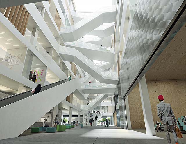 1st prize architecture competition visualisation: multiple bridges connecting floors in a universuty building in Utrecht