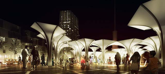 Night market rendering: people gathering on a market at night, ilumination design