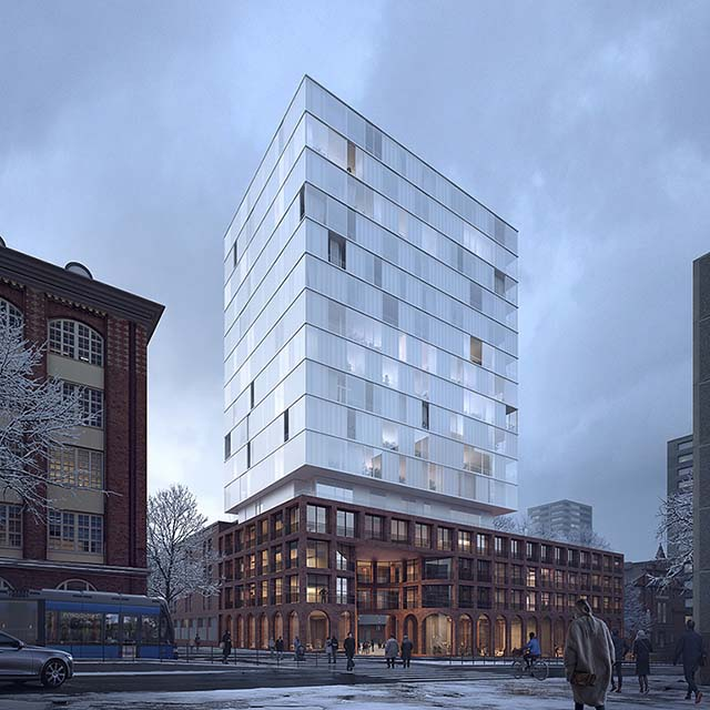 Architectural competition visualisation: scandinavian winter atmoshpere, mixed use brick and glass tower building
