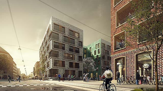 Competition 3d rendering: colourful residential buildings for the elderly