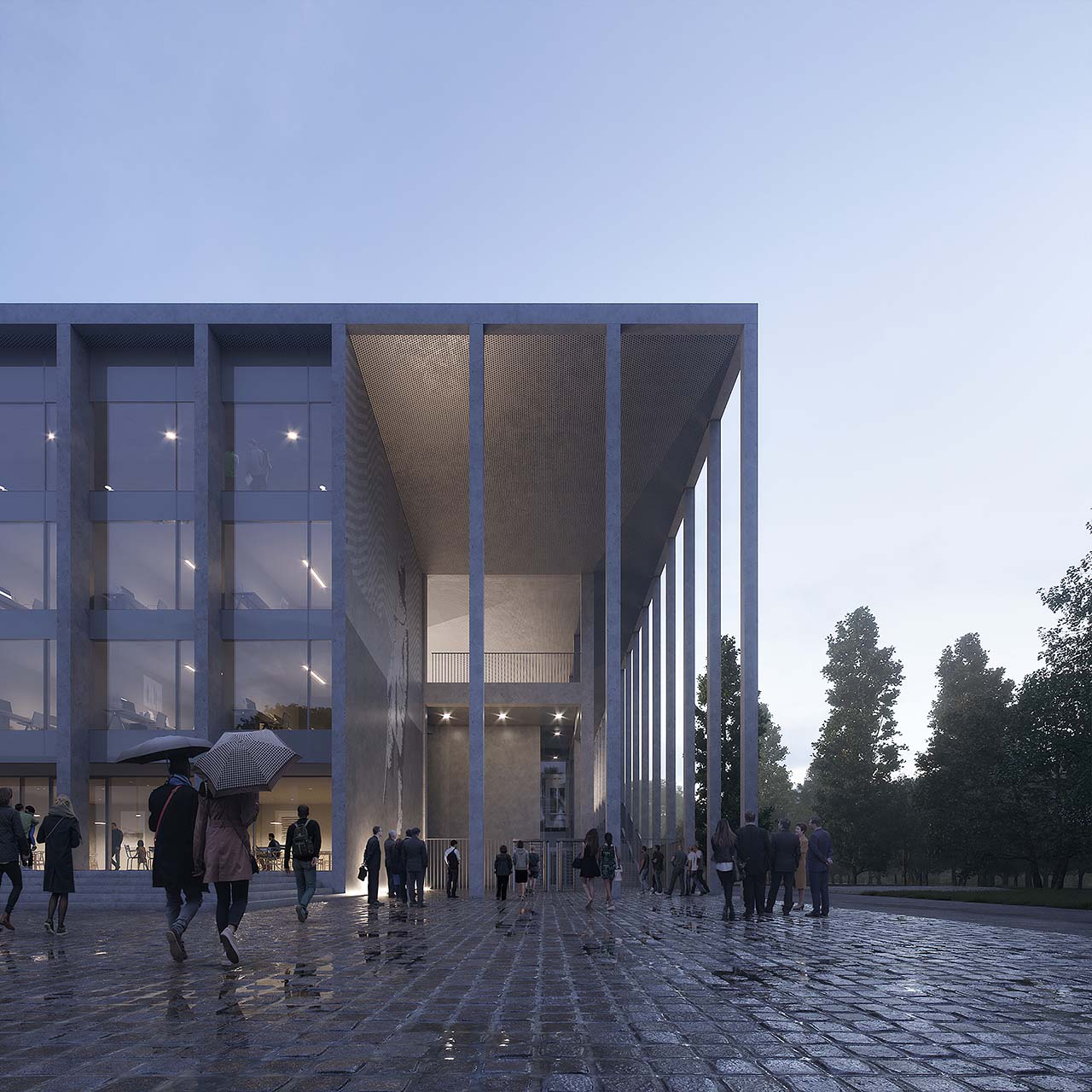 Evening competition rendering of the side entrance to the Polonia Warsawa football stadium: atmospheric light after rain, glossy stone pavement