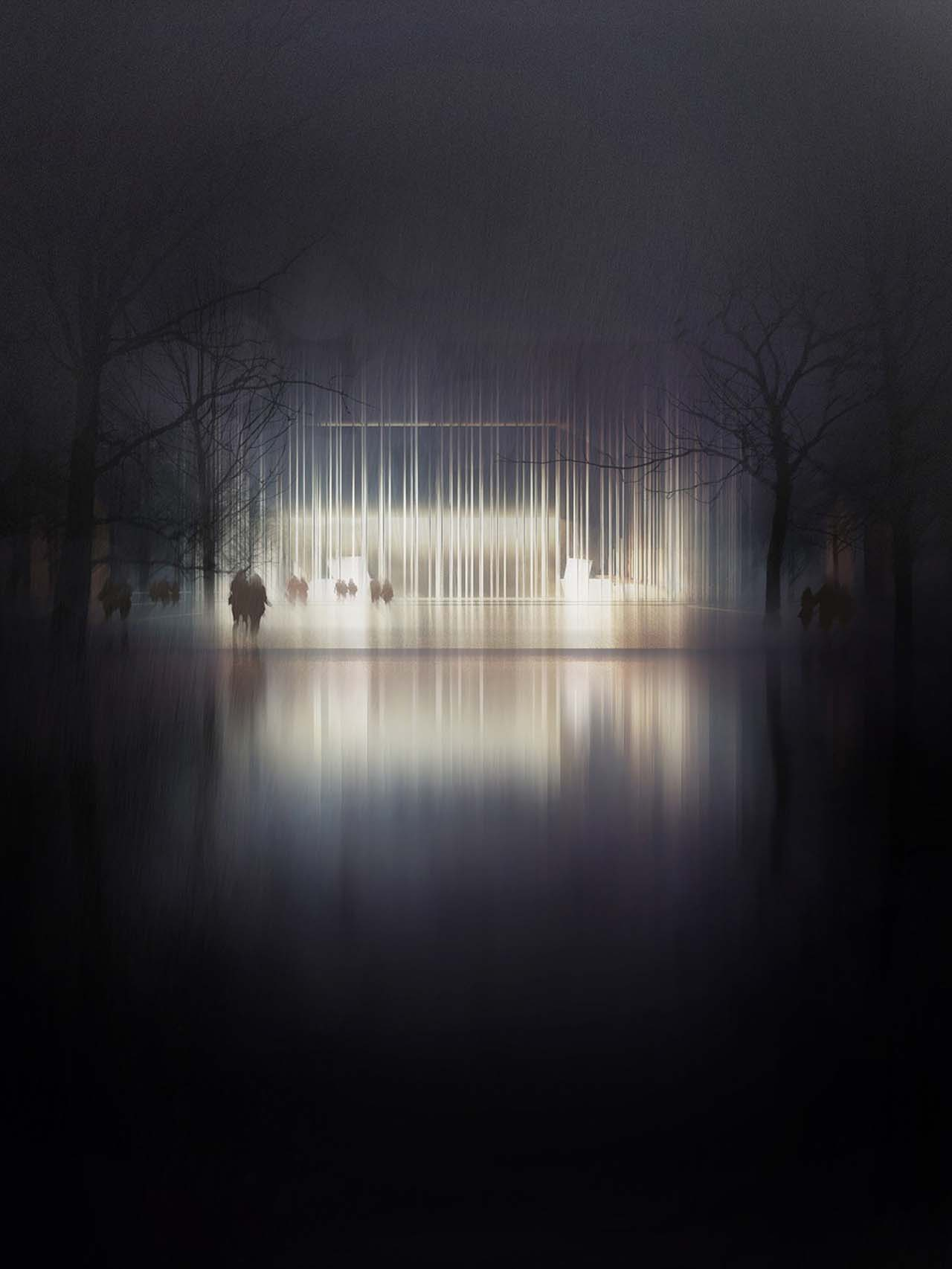 Eerie rainy night rendering of Sinfonia Varsovia building: lit interior, vertical lines facade reflected in pavement