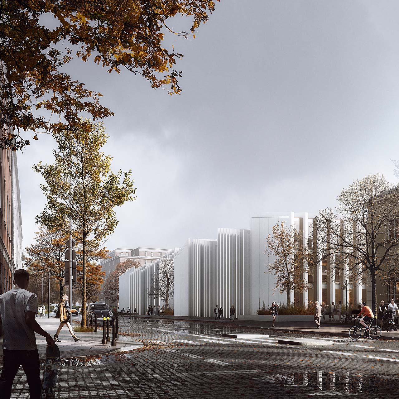 Architectural rendering of a university building in autumn, dramatic light