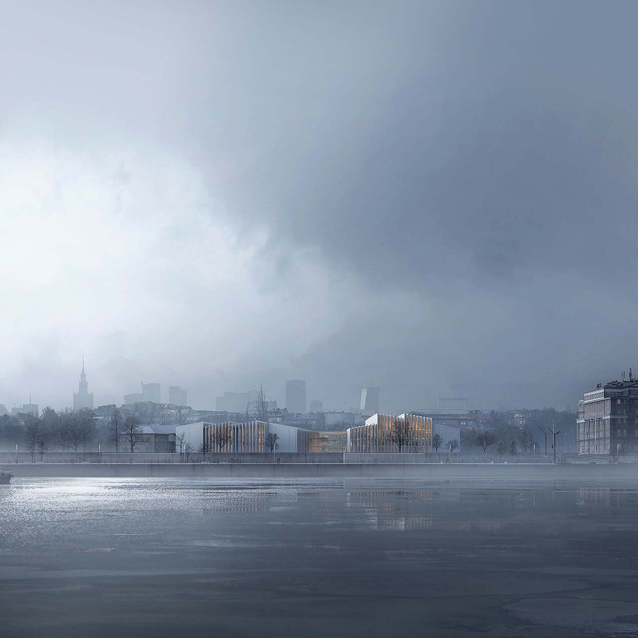 Foggy architectural rendering: white university building reflected in frozen river