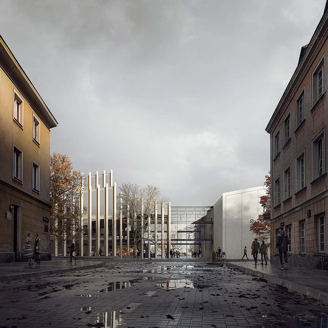 Competition rendering of a university building with glass entrance, reflections on wet street in autumn