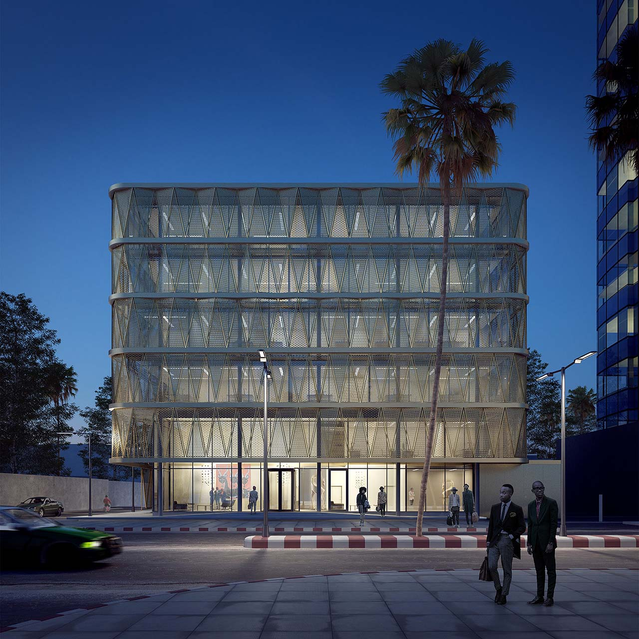Night rendering of a gold building: palm trees, street lights iluminating a street in Congo