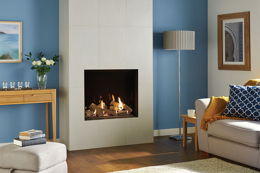 Riva2 750HL Edge with Black Glass at Sussex Fireplace Gallery