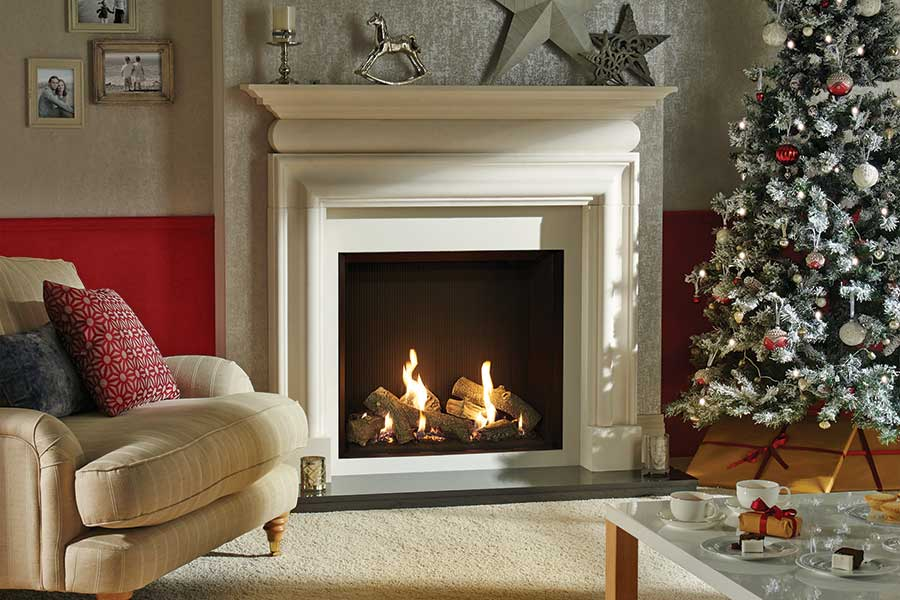 Gazco Riva2 750 in Claremont Mantel Sussex Fireplace Gallery