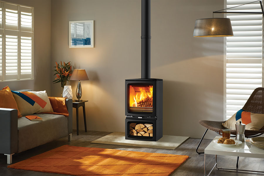 Vogue Woodburner with Optional Wood Store Base Sussex Fireplace Gallery