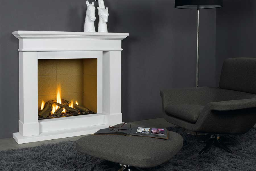 Caradoc Mantel with Trimline 73h Gas Fire Sussex Fireplace Gallery