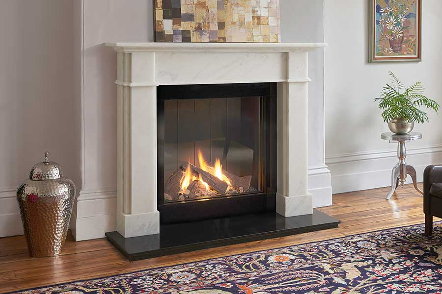 Roseland Venetian Marble Mantel with 73h Gas Fire Sussex Fireplace Gallery