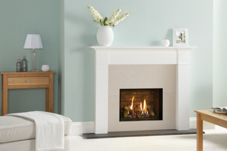 Gazco Riva2 500 Edge gas fire with Brick-effect lining