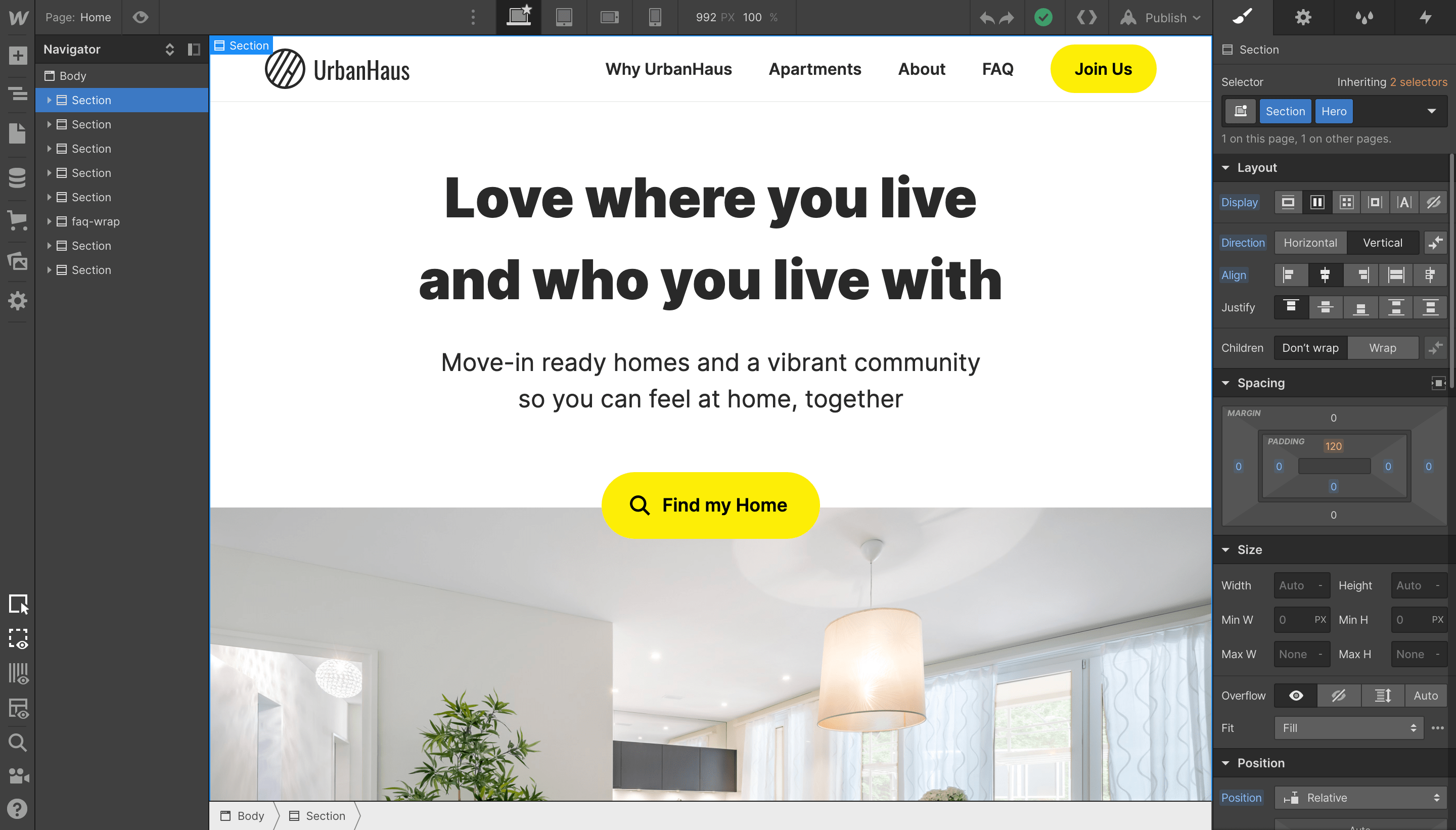 Website Design and low-code Development for co-living service