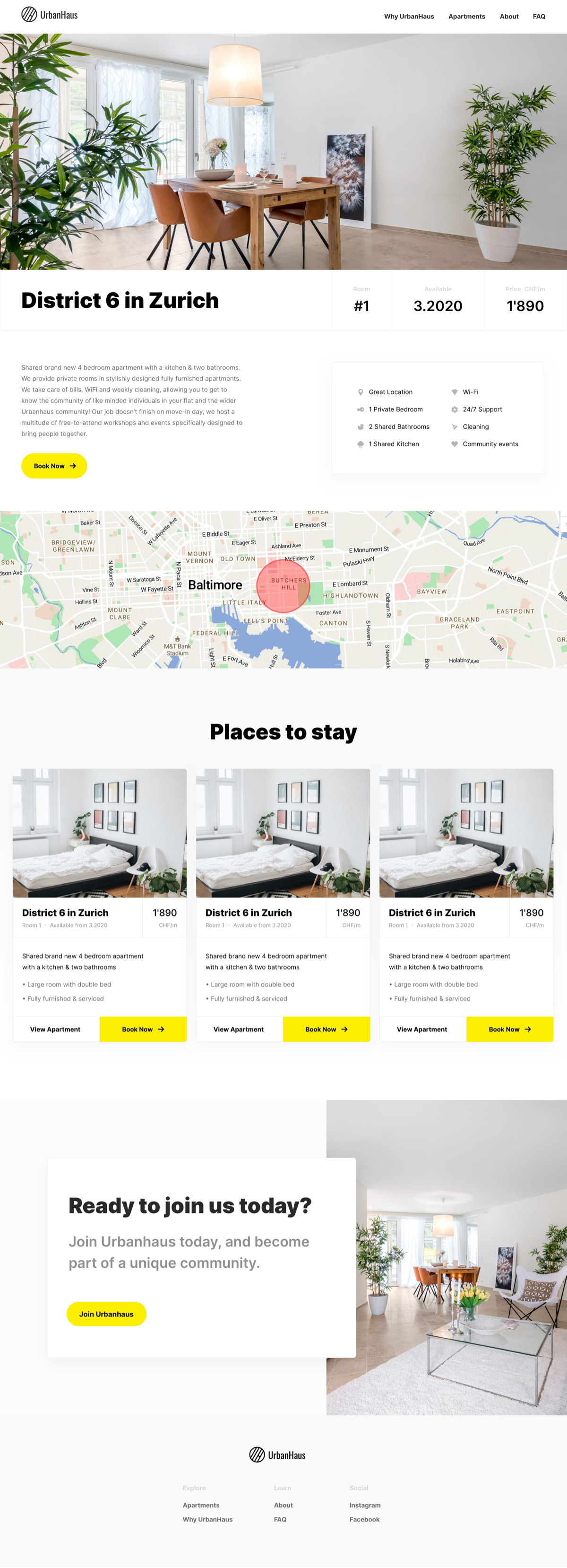 Website Design and Development for co-living service