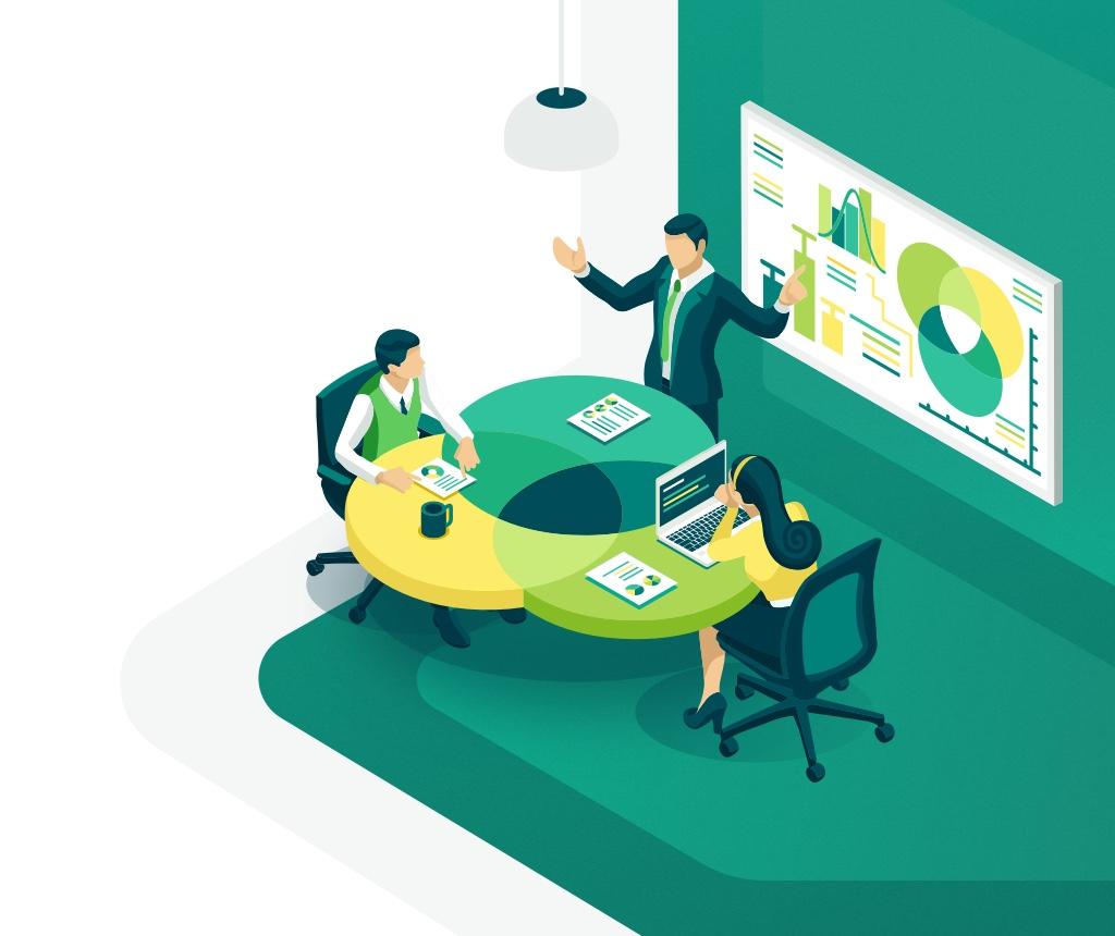 illustration design finance and team work