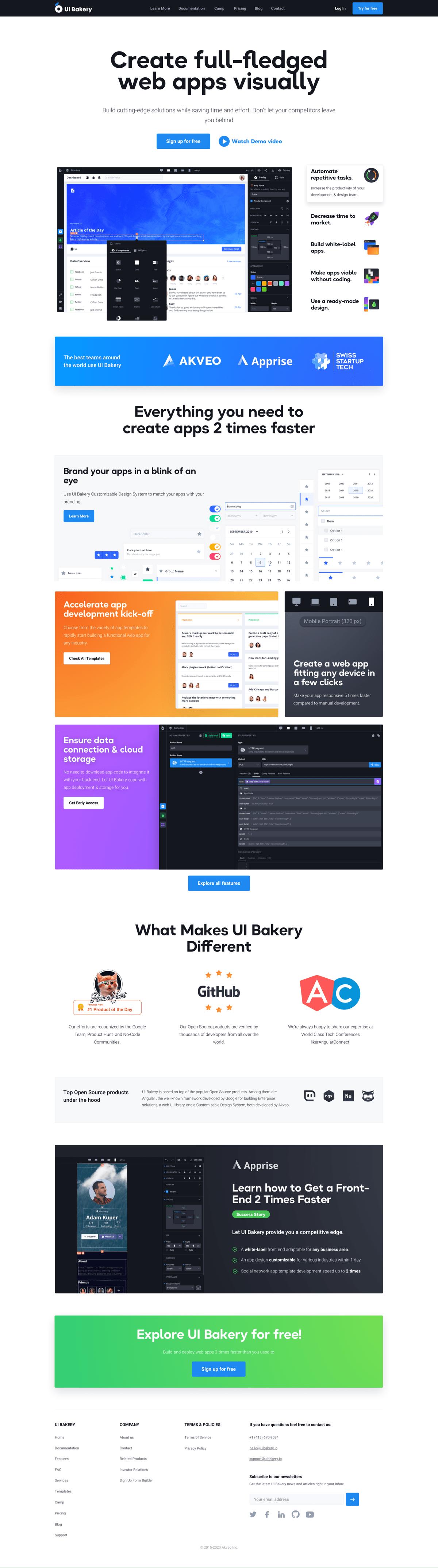 Landing design and development for UI Builder
