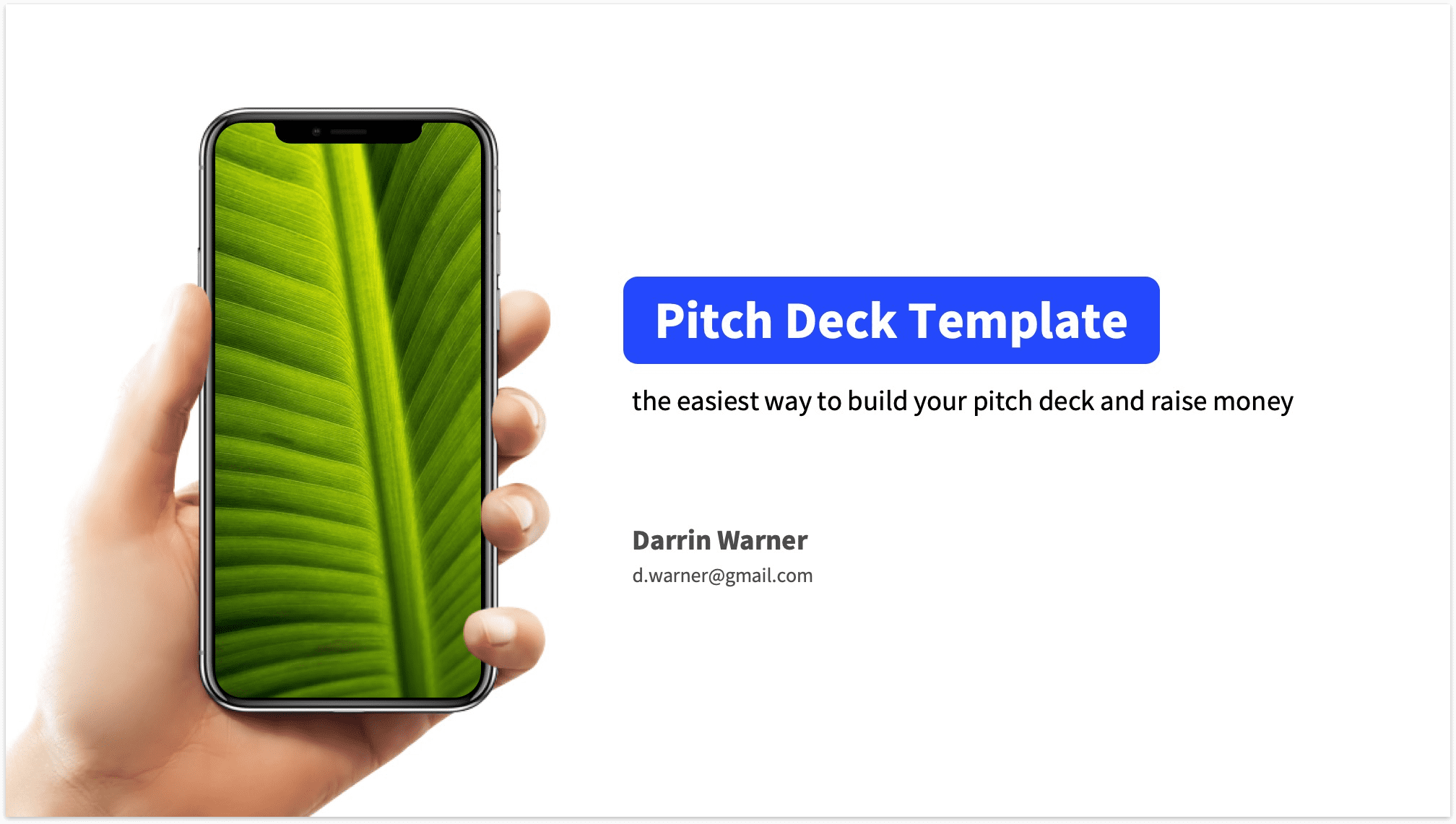 Pitch deck title slide example including product and title
