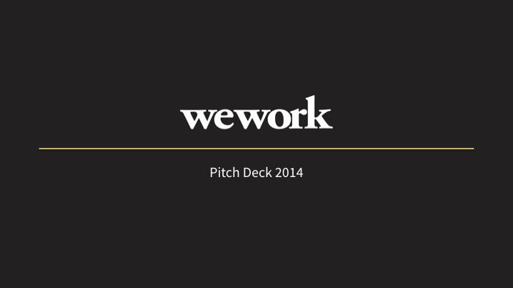 WeWork title slide dark style