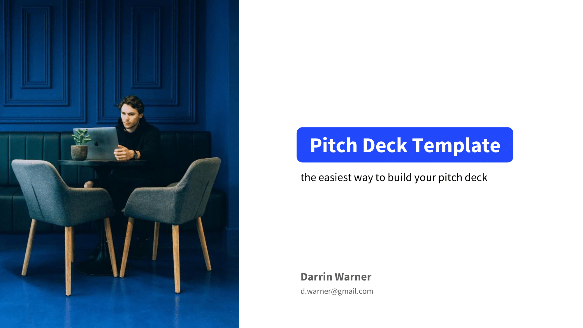 Pitch deck title slide example with a picture of the founder