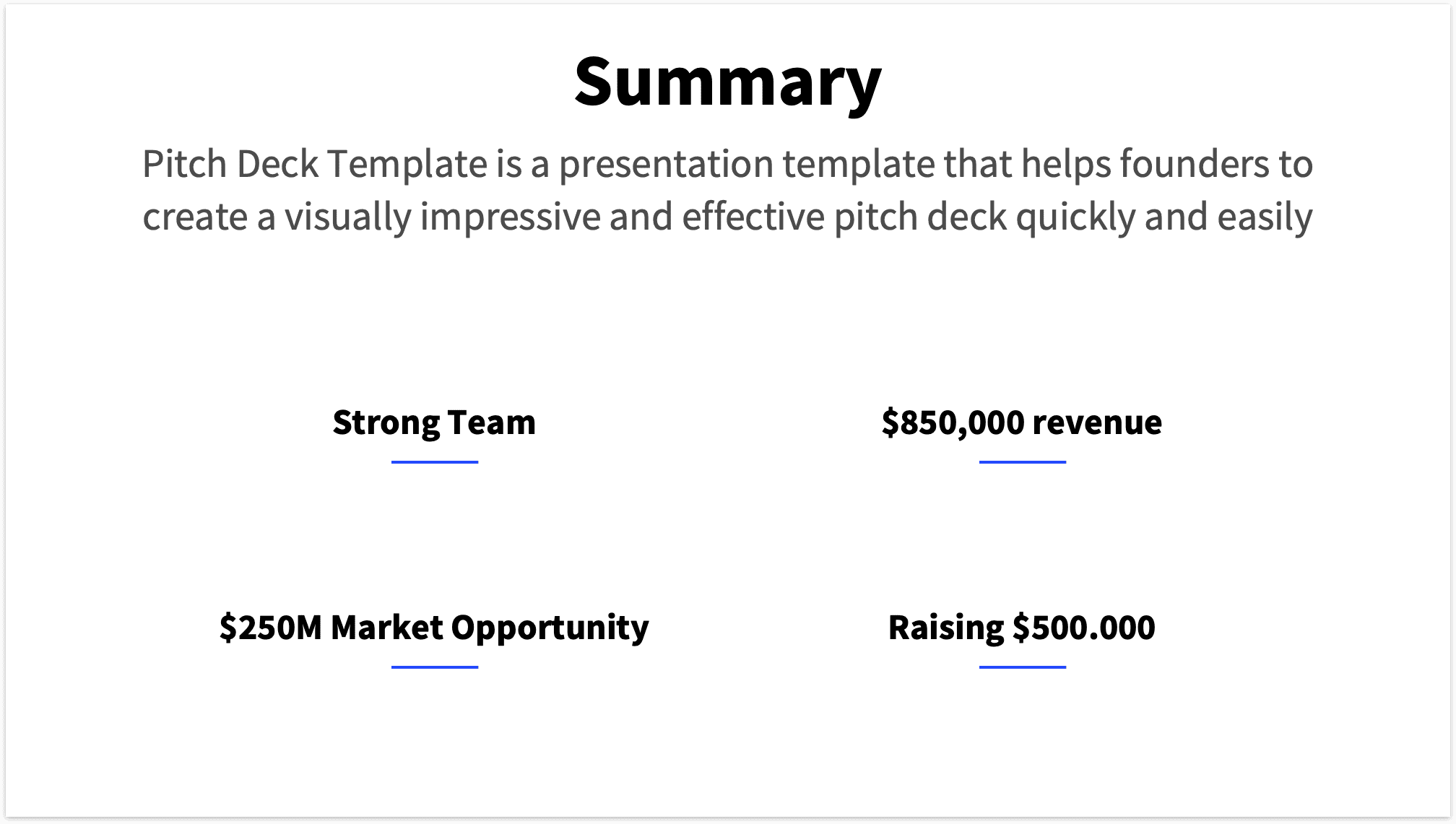 Clean version of a summary slide without headshots of team and graph of revenue streams