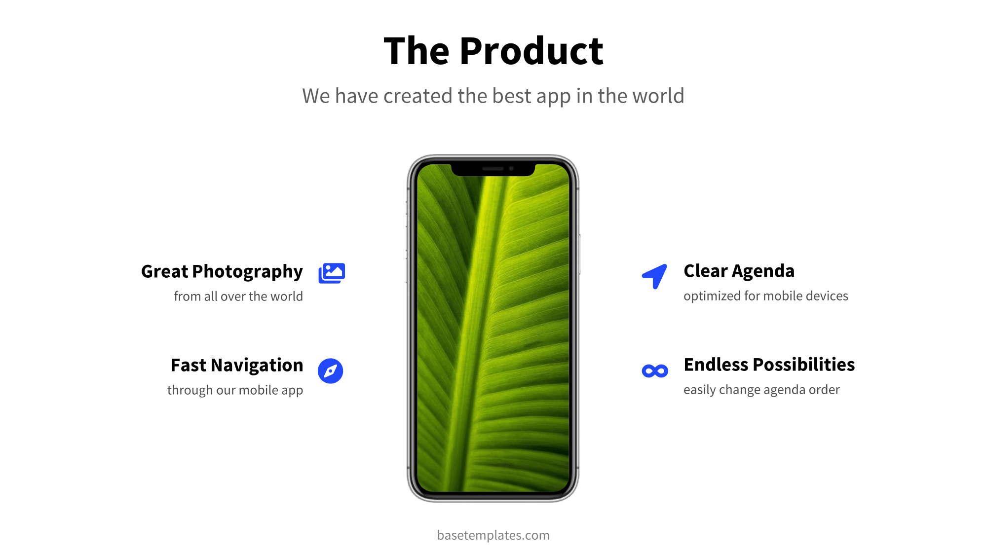 Clean product slide with device mockup