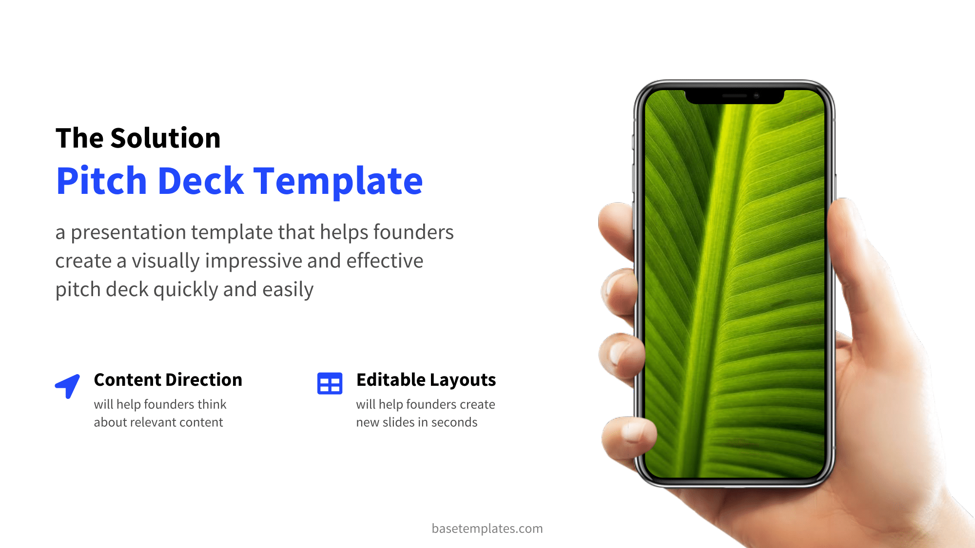 Solution slide with mobile device mockup in blue design