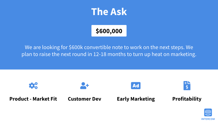 Intercom The Ask slide in clean blue design with four facts