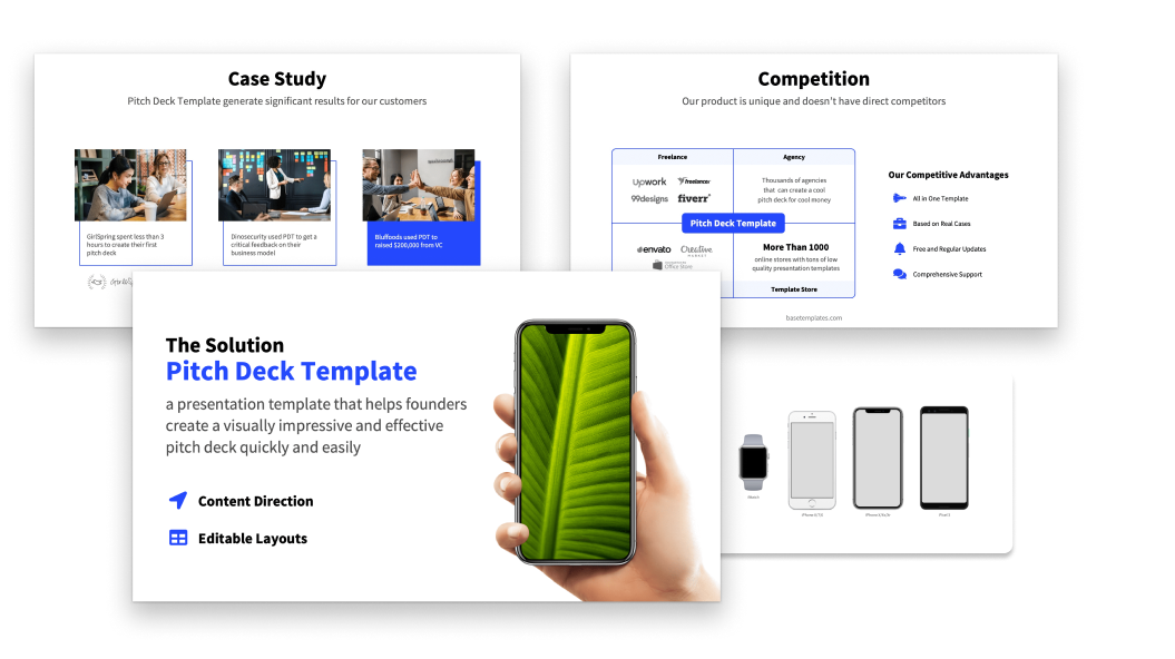 Visual Assets in a pitch deck template