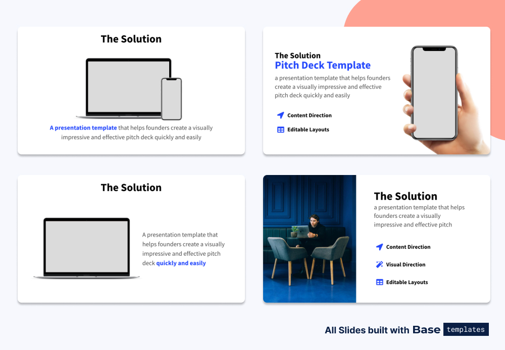 Pitch deck title solution different designs