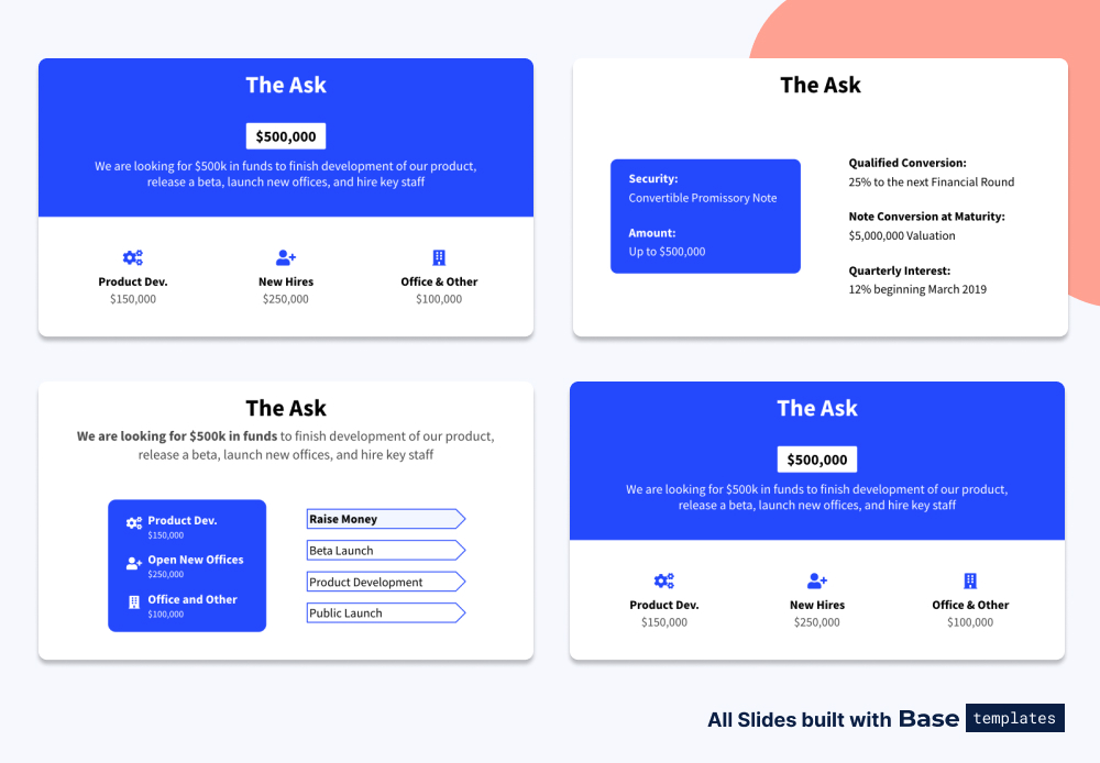 Pitch deck the ask slide different designs