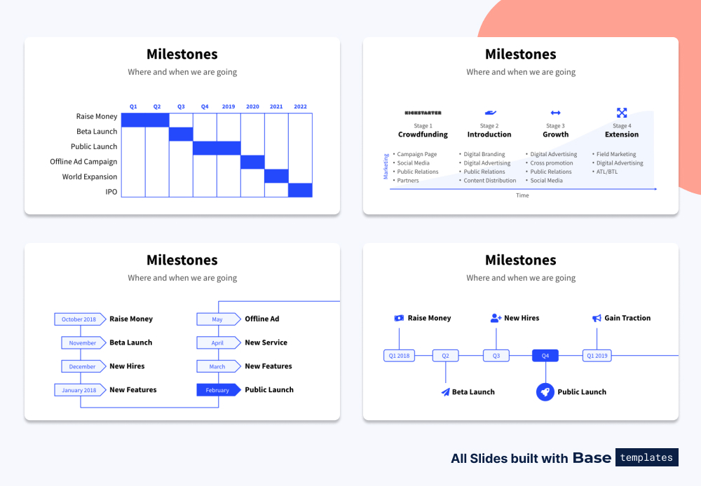 Pitch deck milestones slide different designs