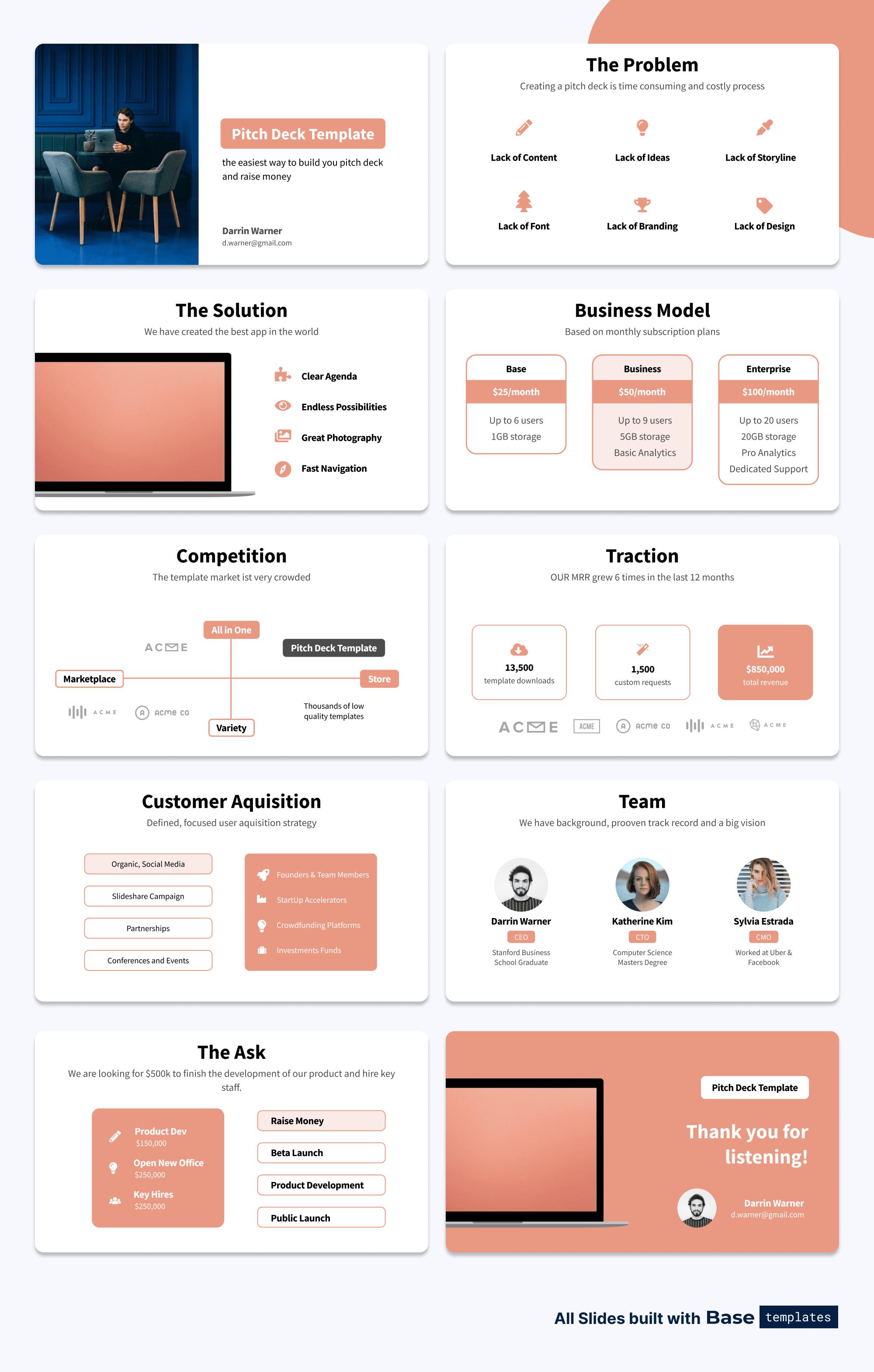 Set of SaaS Pitch Deck Slides